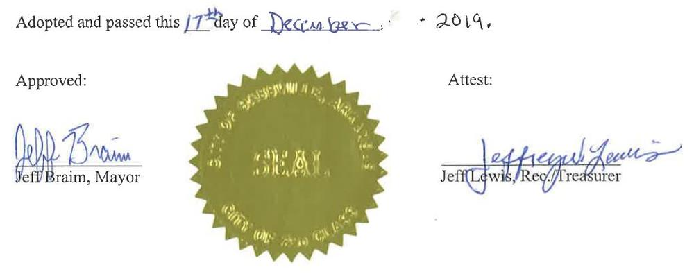 Adopted and passed this 17th day of December 2019. Signed by Mayor Jeff Braim and Rec/Treasurer Jeffrey Lewis