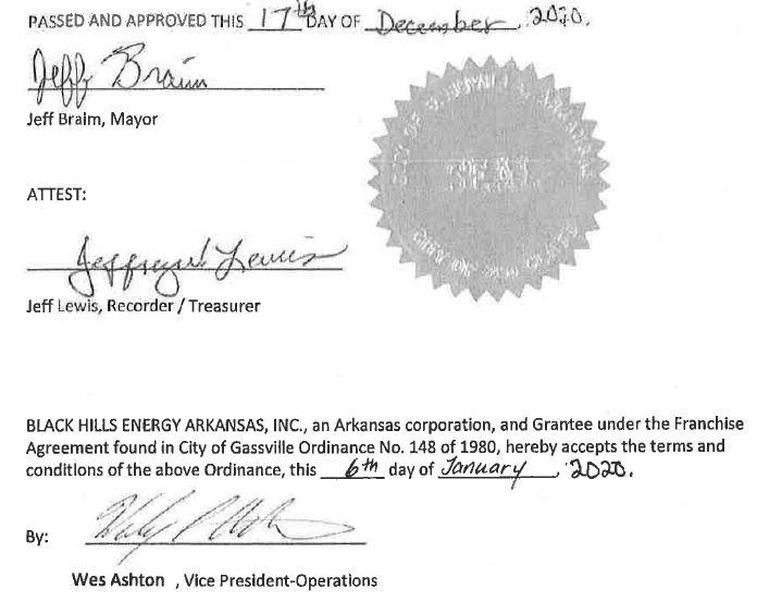 Adopted and passed this 17th day of December 2020. Signed by Mayor Jeff Braim and Rec/Treasurer Jeffrey Lewis