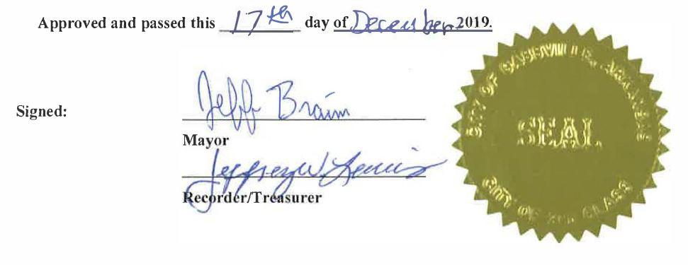 Approved and passed this 17th day of December 2019. signed by Mayor Jeff Braim and Recorder/Treasure Jeffrey Lewis