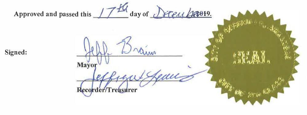 Approved and passed this 17th day of December 2019. Signed by Mayor Jeff Braim and Recorder/Treasurer Jeffrey Lewis